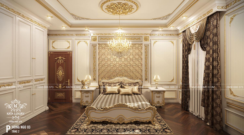 Mẫu thiết kế nội thất phòng ngủ tân cổ điển đẹp rát vàng