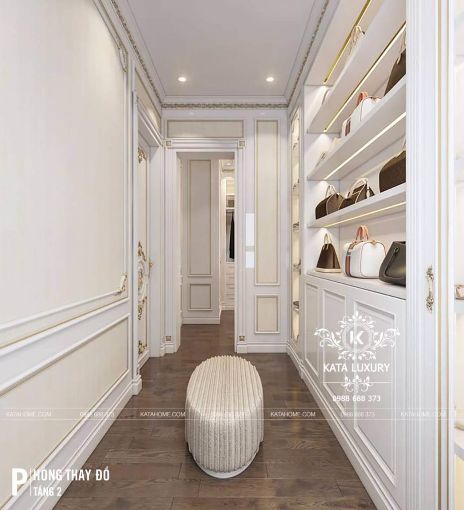 Phòng thay đồ của phòng ngủ Master trong mẫu thiết kế nội thất tân cổ điển 2