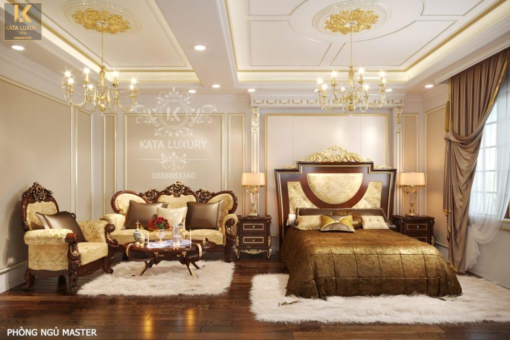 Thiết kế phòng ngủ tân theo phong cách cổ điển tinh tế với thảm màu trắng