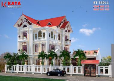 Mẫu biệt thự 3 tầng kiến trúc pháp đẹp tại Hà Nội với hệ thống mái thái đỏ tươi