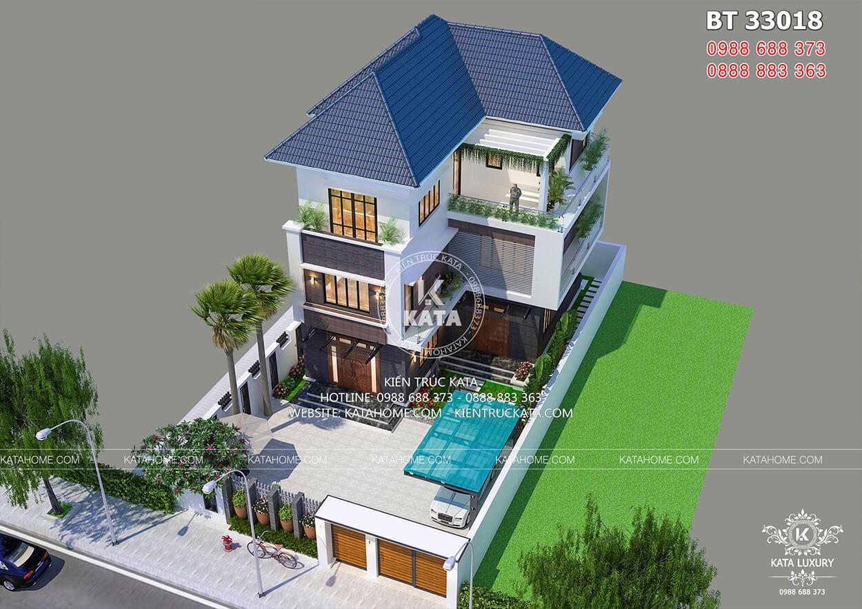 Biệt thự chữ L 3 tầng hiện đại đẹp tại Quảng Ninh nhìn từ trên cao