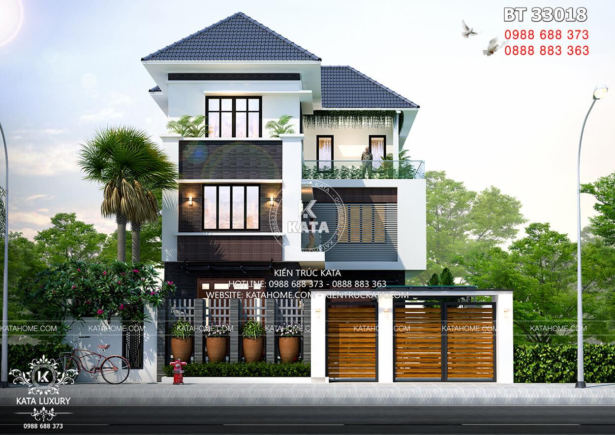 Biệt thự chữ L 3 tầng hiện đại đẹp tại Quảng Ninh với hệ thống cổng ấn tượng