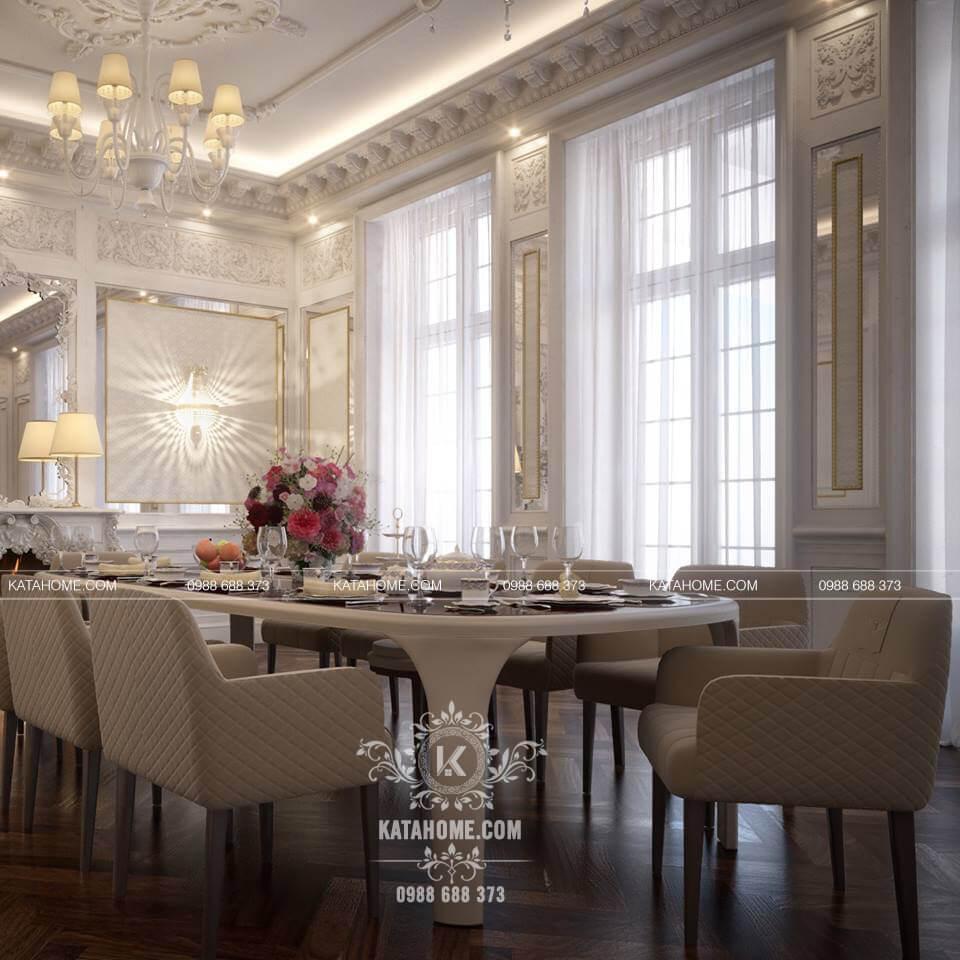 Thiết kế nội thất biệt thự đẹp cho phòng bếp tân cổ điển