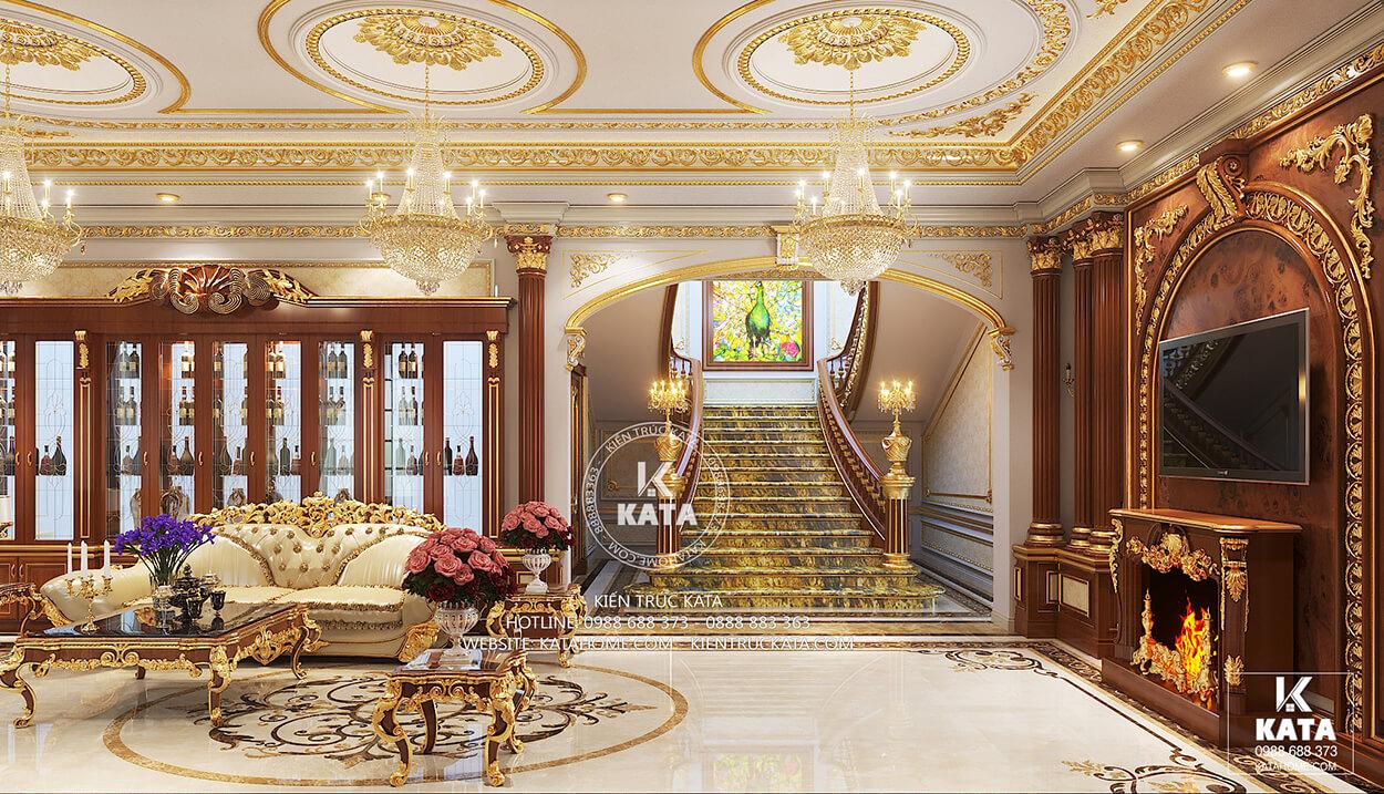 Nội thất phòng khách tân cổ điển với cầu thang đẹp