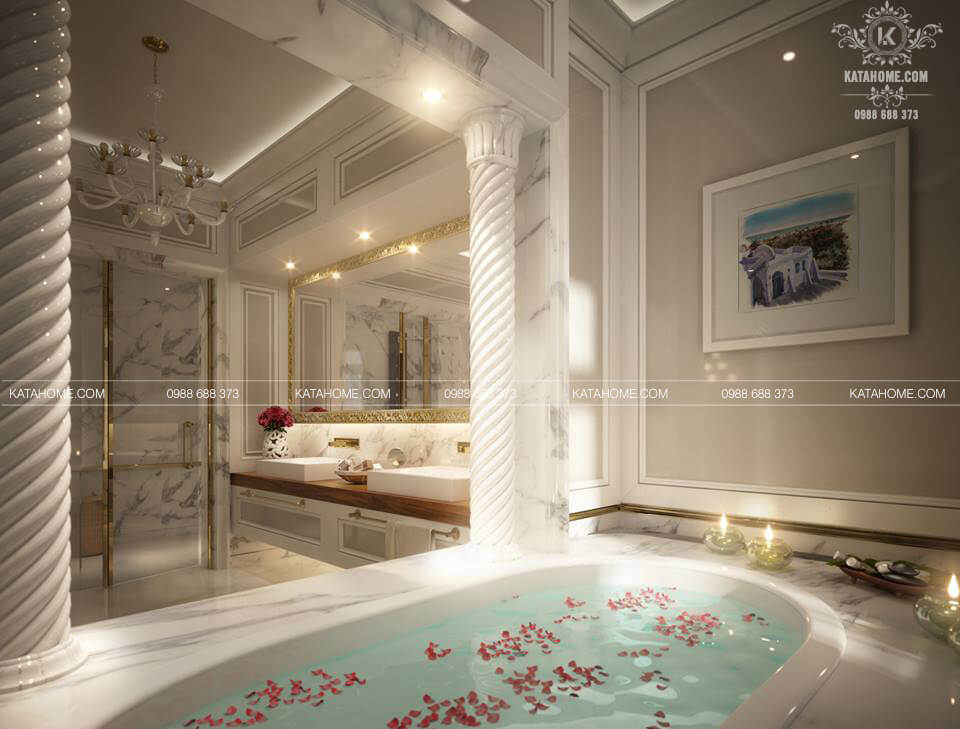 Nội thất nhà vệ sinh đẹp với bồn tắm trắng sứ sang trọng