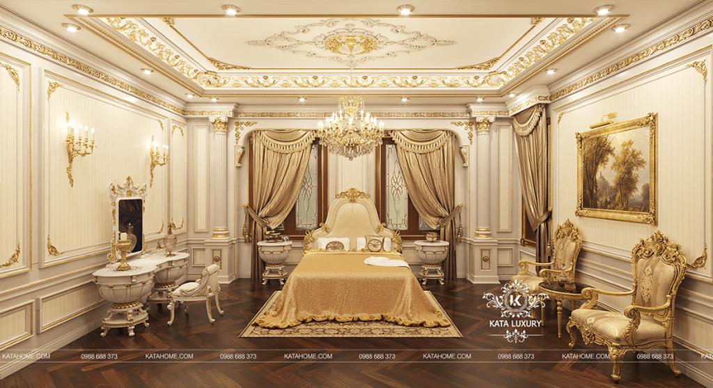 Nội thất phòng ngủ hài hòa và ăn nhập với nhau với hai tone màu vàng và trắng