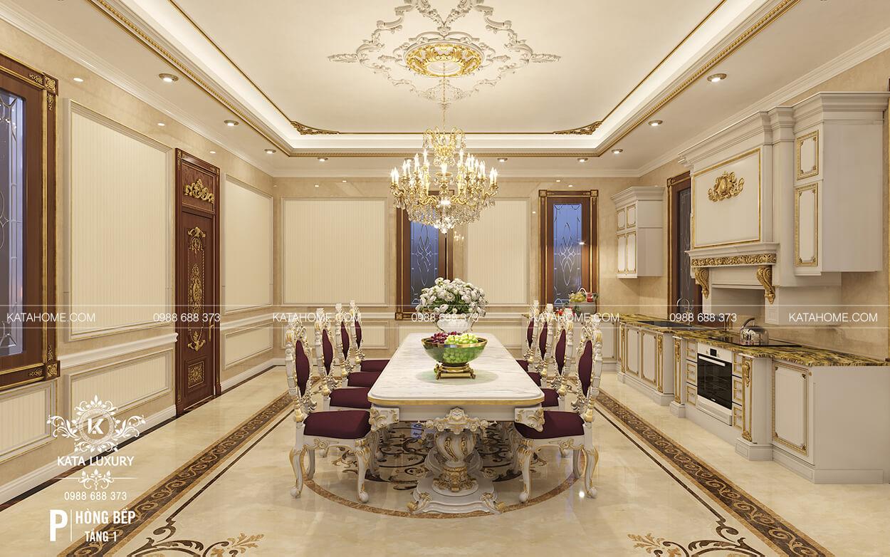 Thiết kế nội thất biệt thự đẹp phòng bếp