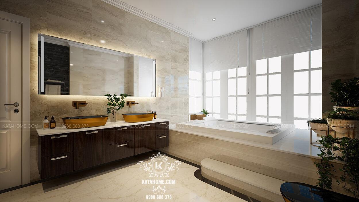 Thiết kế nhà tắm đẹp với gam màu đơn giản nhưng vẫn rất nổi bật