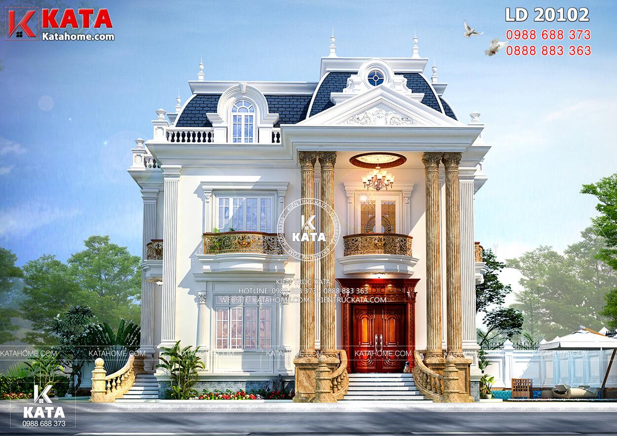 Không gian mặt tiền nổi bật với hai cột trụ lớn thông tầng của mẫu biệt thự tân cổ điển 2 tầng kiến trúc Pháp đẹp - Mã số: BT20102