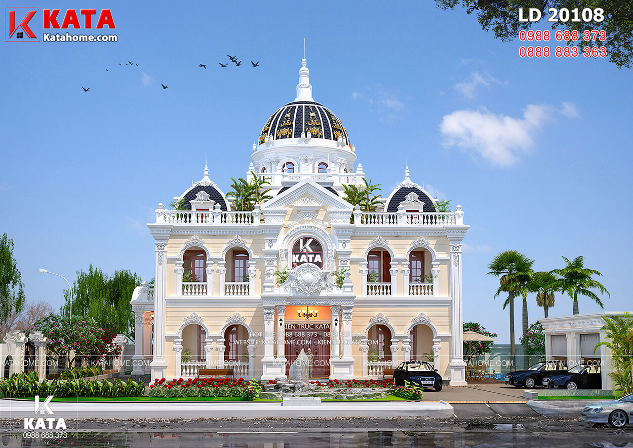 Không gian mặt tiền của mẫu dinh thự tân cổ điển đẹp 2 lầu tại Lâm Đồng – Mã số: LD 20108