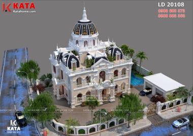 Toàn cảnh mẫu dinh thự tân cổ điển đẹp 2 lầu tại Lâm Đồng – Mã số: LD20108 nhìn từ trên cao xuống