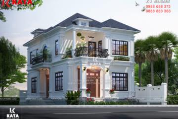 Không gian ngoại thất của mẫu nhà đẹp 2 tầng mặt tiền 10m tại Nghệ An - Mã số: BT20133