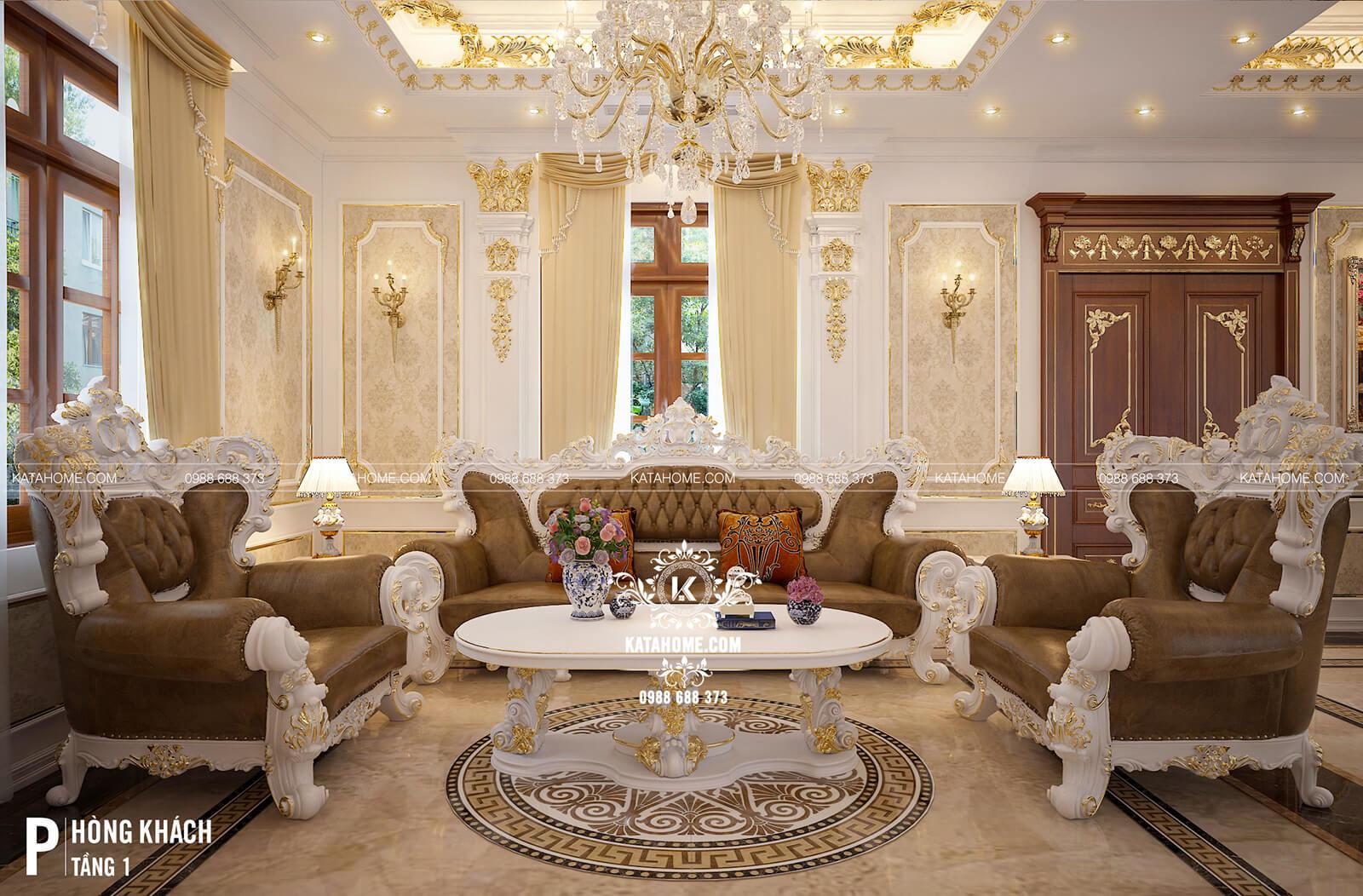Thiết kế nội thất phòng khách tân cổ điển đẹp