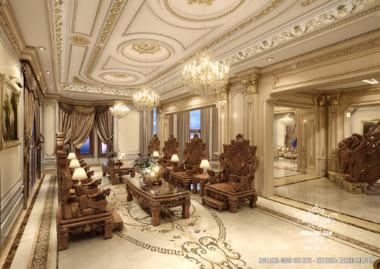 Mẫu thiết kế nội thất phòng khách đẹp tân cổ điển