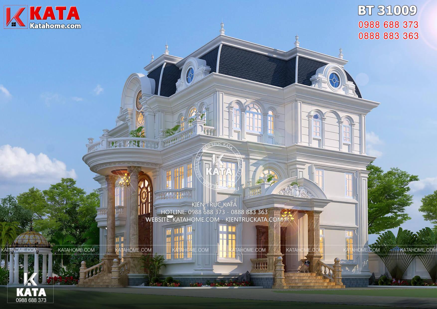 Một góc view mẫu thiết kế biệt thự tân cổ điển 3 tầng tại Vĩnh Long - Mã số: BT 31009