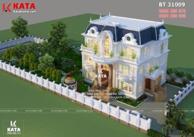 Kiến trúc Pháp đặc trưng trong mẫu biệt thự 3 tầng tân cổ điển