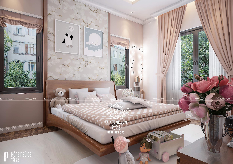 Phối cảnh 3D phòng ngủ đẹp, sang trọng của biệt thự hiện đại mái Thái tại An Giang