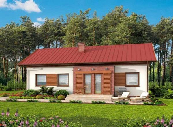 Mẫu thiết kế nhà cấp 4 phong cách châu Âu đơn giản, hiện đại và hài hòa với cảnh quan thiên nhiên bao quanh. Bạn có thể thay thế mái ngói bằng mái tôn để tiết kiệm chi phí.