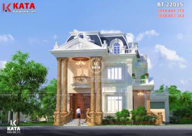 Không gian mặt tiền sang trọng, đồ sộ những cũng hết sức nhẹ nhàng, tinh tế của mẫu biệt thự tân cổ điển