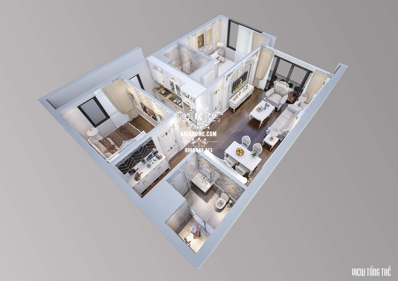 Vị trí các phòng trong căn hộ tân cổ điển đẹp
