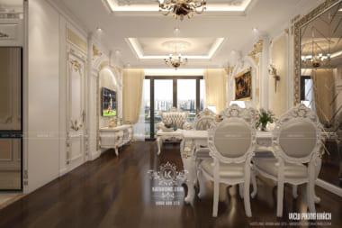 Phối cảnh 3D phòng khách căn hộ đẹp kiến trúc tân cổ điển sang trọng