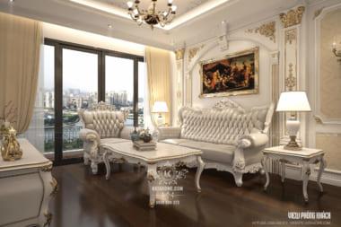 Một góc view đẹp phòng khách của căn hộ với kiến trúc mang hơi thở phong cách Châu Âu đẳng cấp