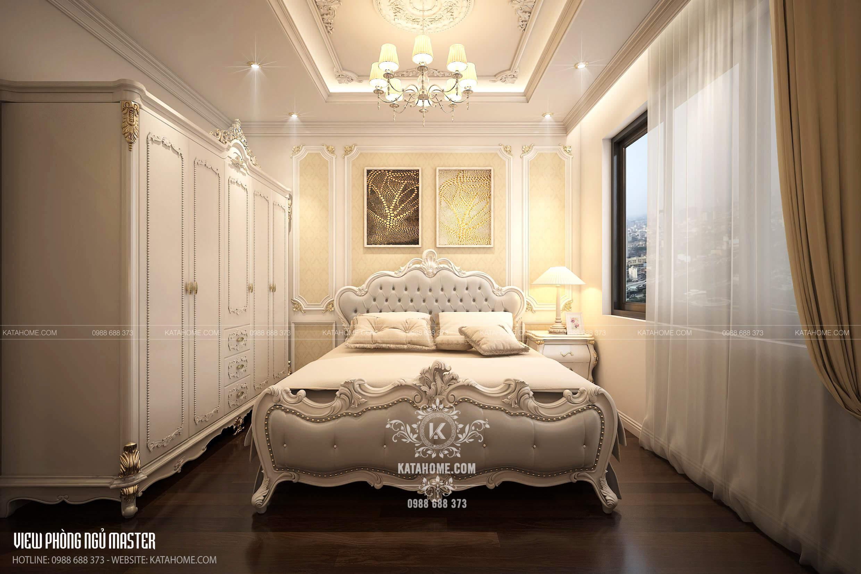 Một góc view phòng ngủ master căn hộ tân cổ điển đẹp