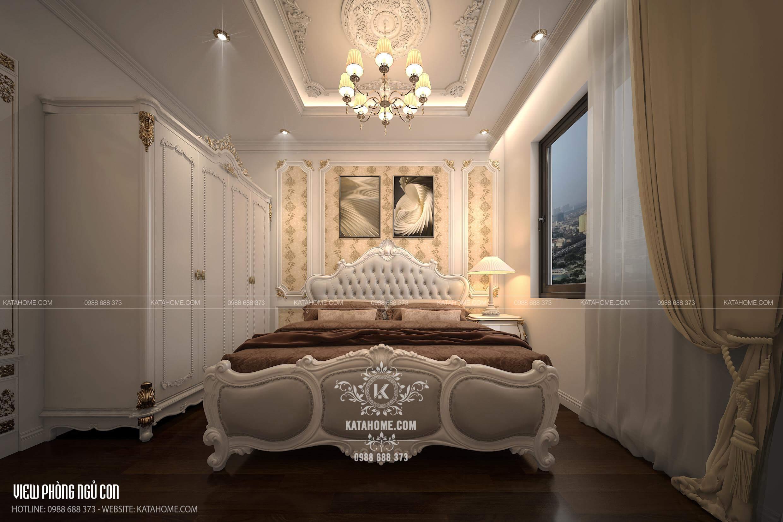 Phối cảnh 3D phòng ngủ phong cách Châu Âu sang trọng
