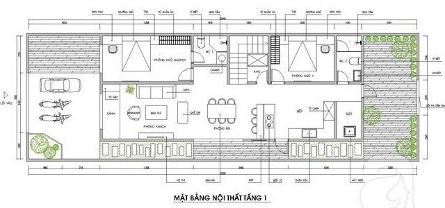 Bản vẽ thiết kế mặt bằng tầng trệt nhà cấp 4