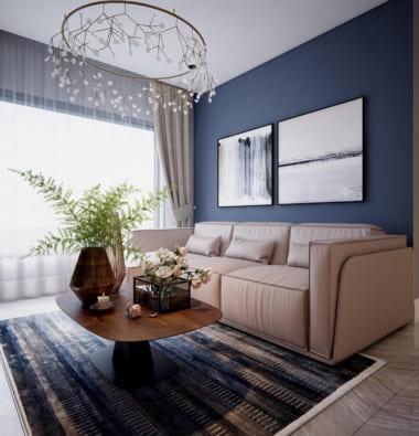 Ghế sofa màu be đặt sát bức tường sơn xanh than thanh lịch. Cửa sổ kính lớn lấy sáng tự nhiên giúp căn phòng ấm áp hơn.