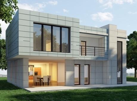 Hình ảnh phối cảnh mẫu nhà 2 tầng đơn giản với cửa sổ kính trong suốt, tông màu xám trắng bao phủ mặt ngoài