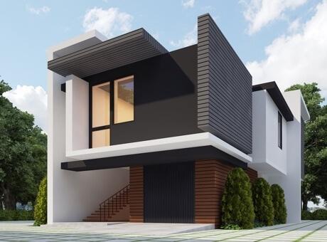 Hình ảnh nhà 2 tầng màu xám đen chủ đạo, cầu thang phía trước dẫn lên không gian sinh hoạt