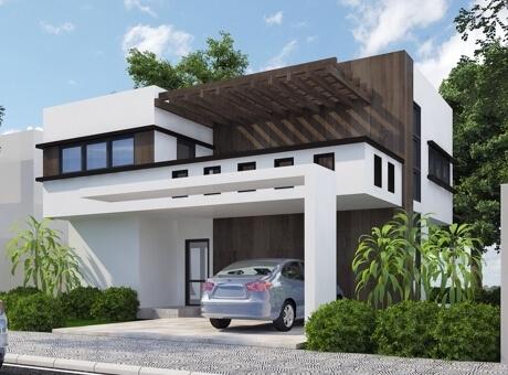 Hình ảnh mẫu nhà 2 tầng có sân trước đậu ô tô, ban công tầng 2 rộng thoáng có lam gỗ thưa che chắn