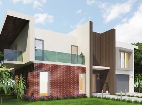 Hình ảnh mẫu nhà 2 tầng hiện đại với điểm nhấn là tường tầng trệt ốp gạch nung đỏ ấm áp
