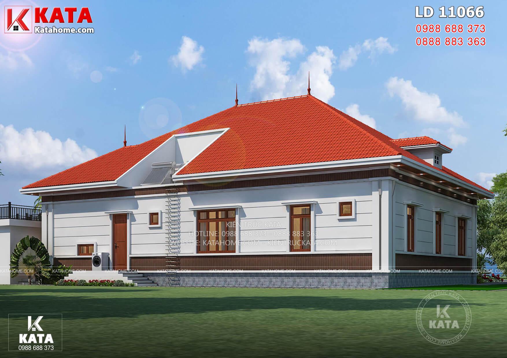 Không gian ngoại thất phía sau nhà mẫu thiết kế biệt thự 1 tầng mái Thái