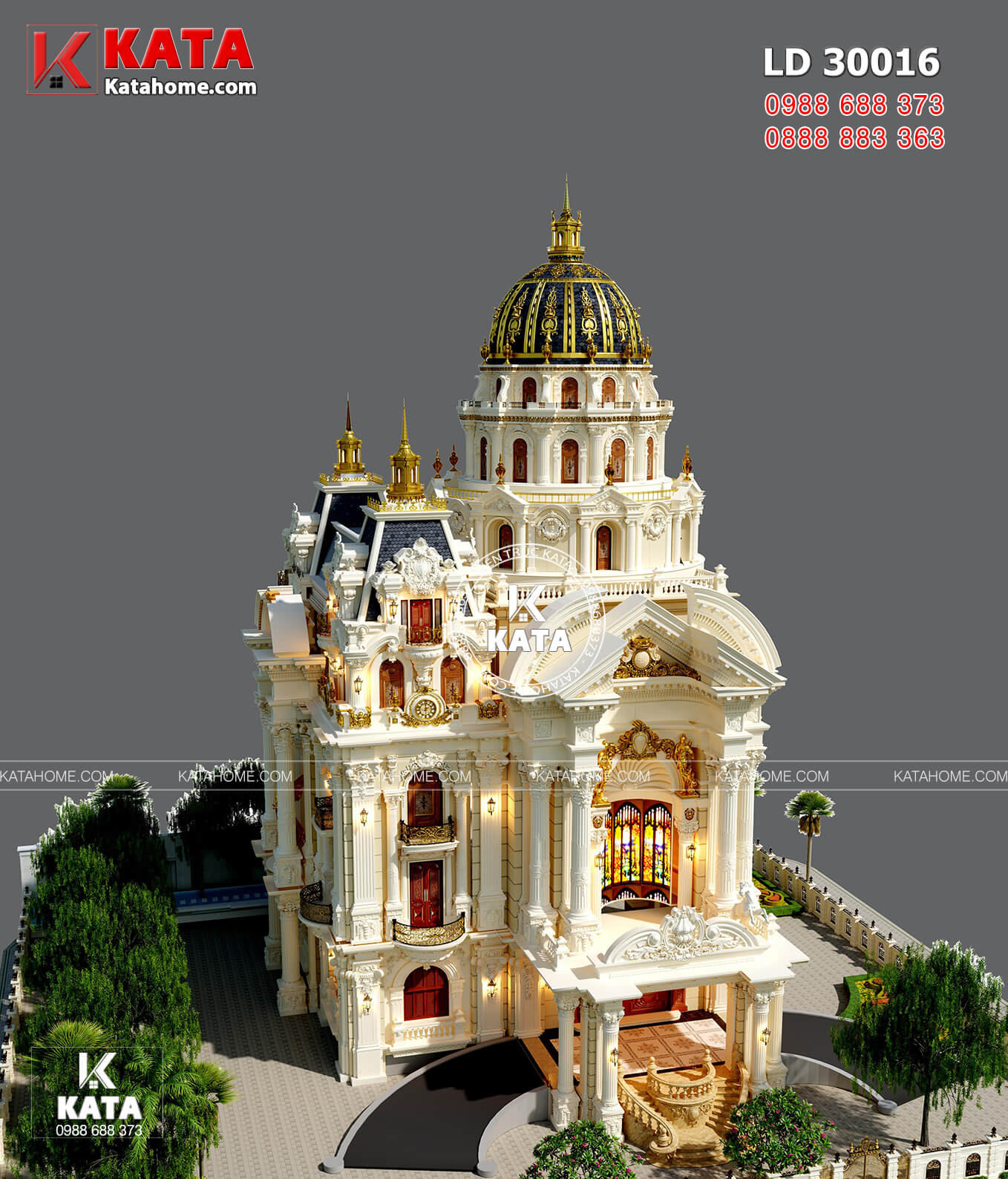 Mẫu thiết kế dinh thự lâu đài 4 tầng tân cổ điển đẹp hút hồn - LD 30016