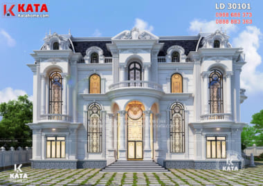 Phối cảnh 3D không gian mặt tiền mẫu thiết kế lâu đài dinh thự 3 tầng tân cổ điển đẹp - Mã số: LD 30101