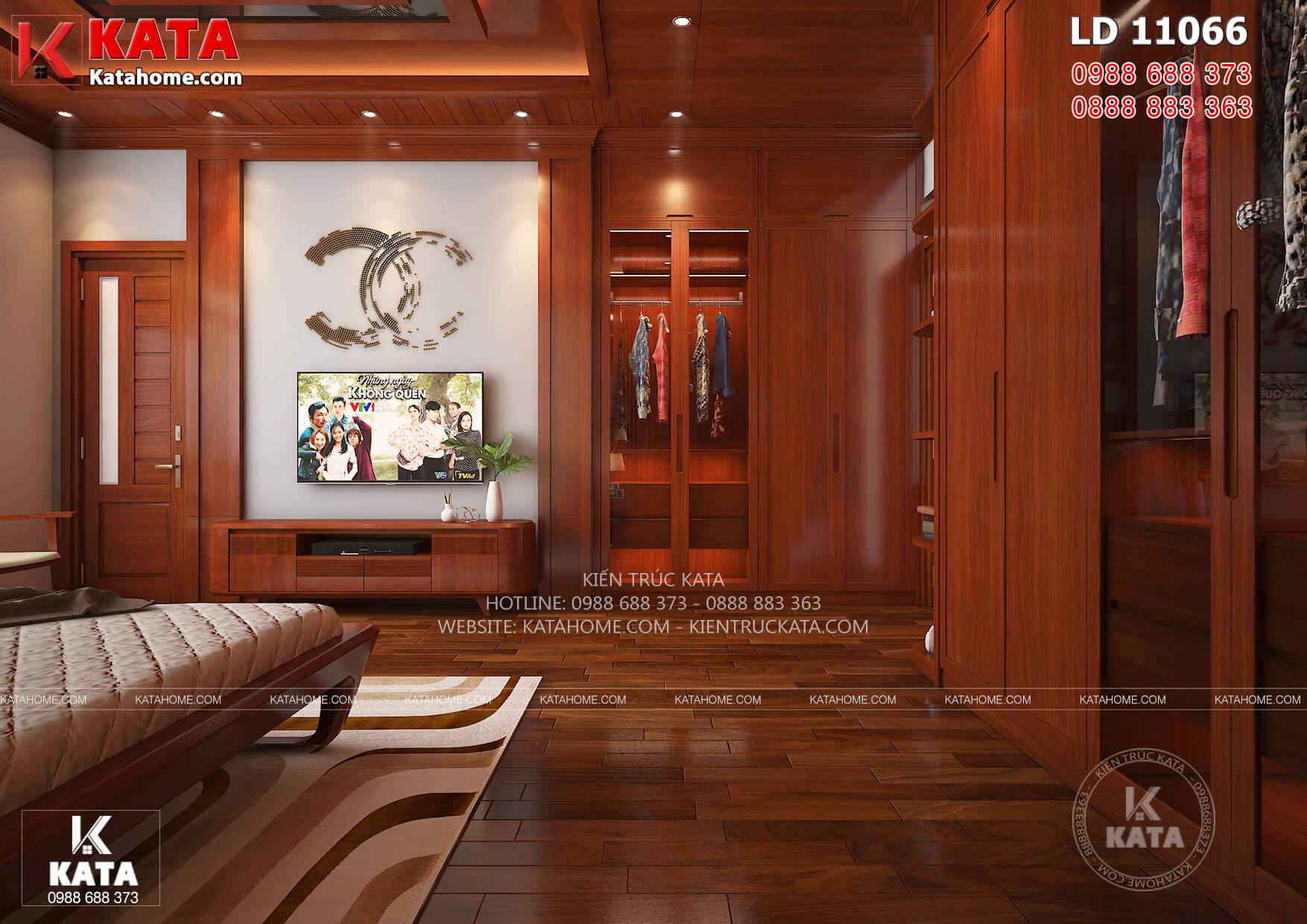 Thiết kế nội thất phòng ngủ bố mẹ với trần gỗ đắt giá của mẫu nhà vườn 1 tầng BT 11066