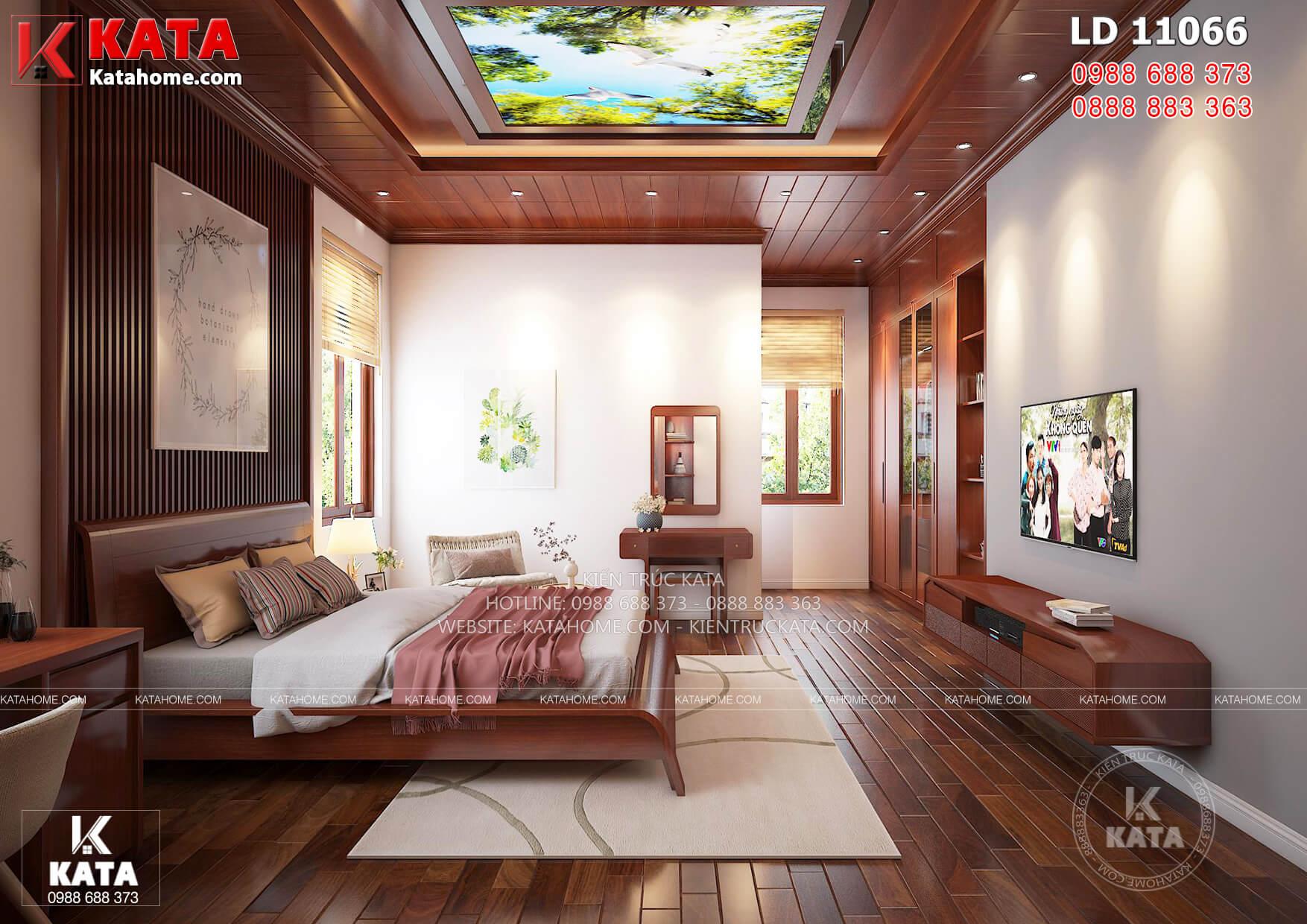 Thiết kế nội thất phòng ngủ con trai đẹp khỏe khoắn lịch lãm với trần gỗ, sàn gỗ và đồ nội thất gỗ