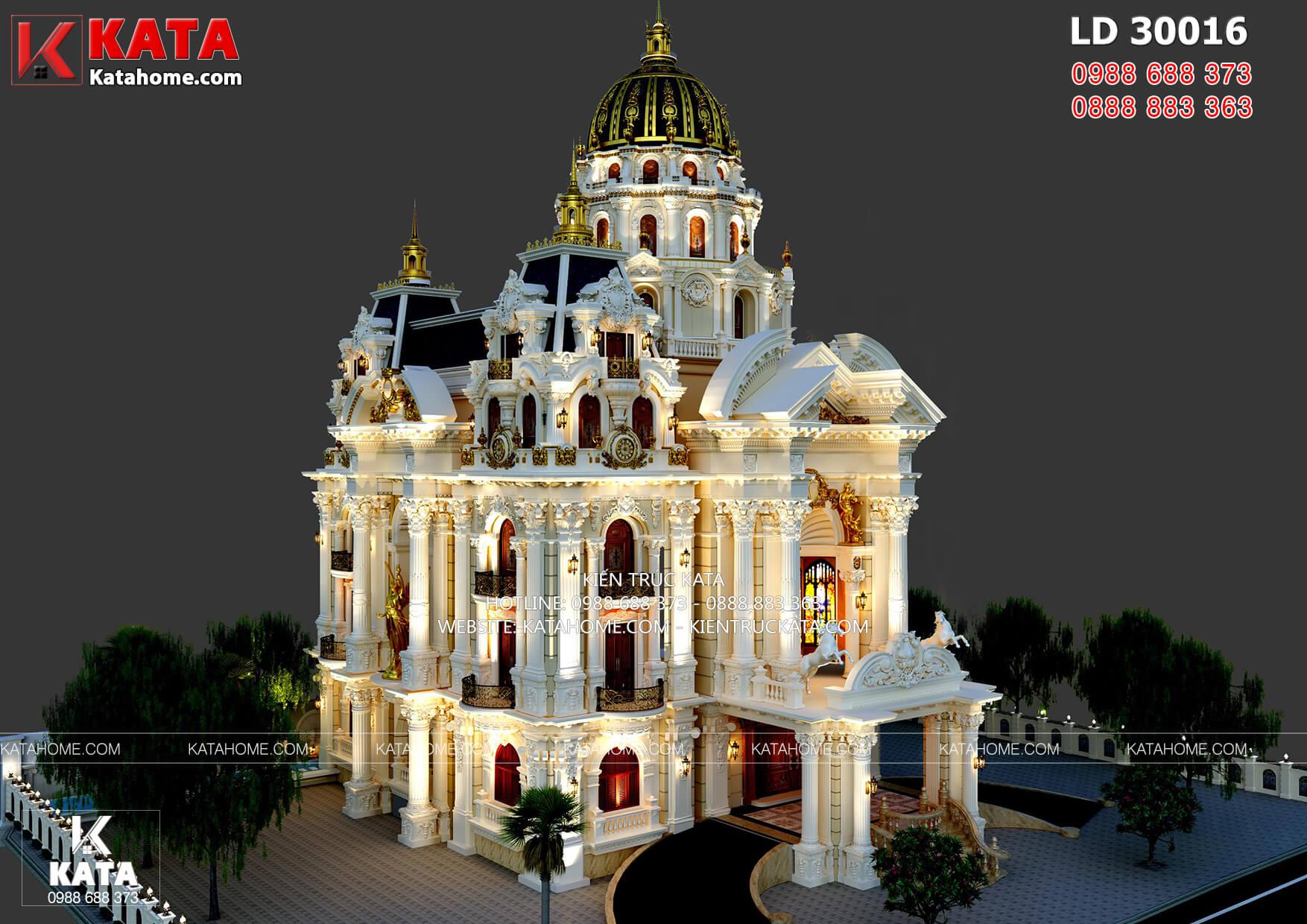 Mẫu thiết kế dinh thự lâu đài đẹp tân cổ điển LD 30016