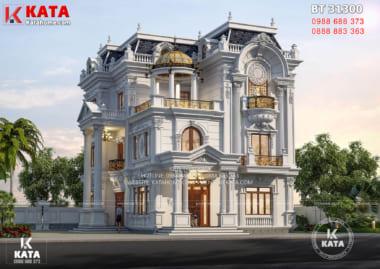 Không gian ngoại thất mẫu biệt thự 3 tầng tân cổ điển đẹp tại Vĩnh Long