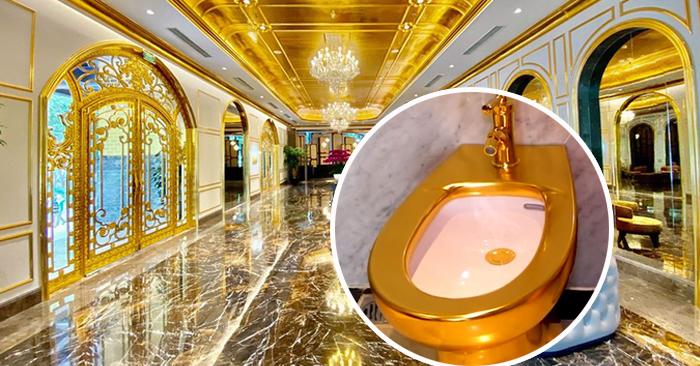 Không gian nội thất và nhà vệ sinh dát vàng