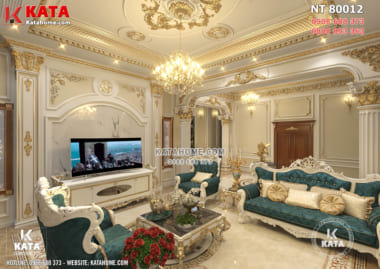 Phối cảnh 3D phòng khách mẫu dinh thự lâu đài tân cổ điển đẹp