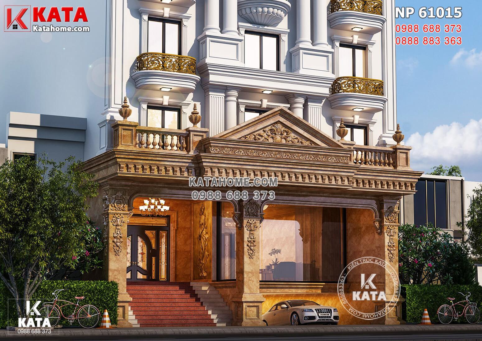 Cận cảnh chi tiết sảnh ốp đá hoàng gia cao cấp mẫu thiết kế nhà phố kiến trúc Pháp đẹp sang trọng