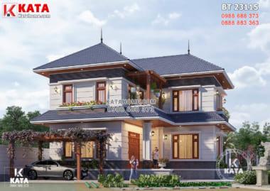 Mẫu nhà 2 tầng đẹp mái Nhật 90m2 với 4 phòng ngủ - Mã số: BT 23115