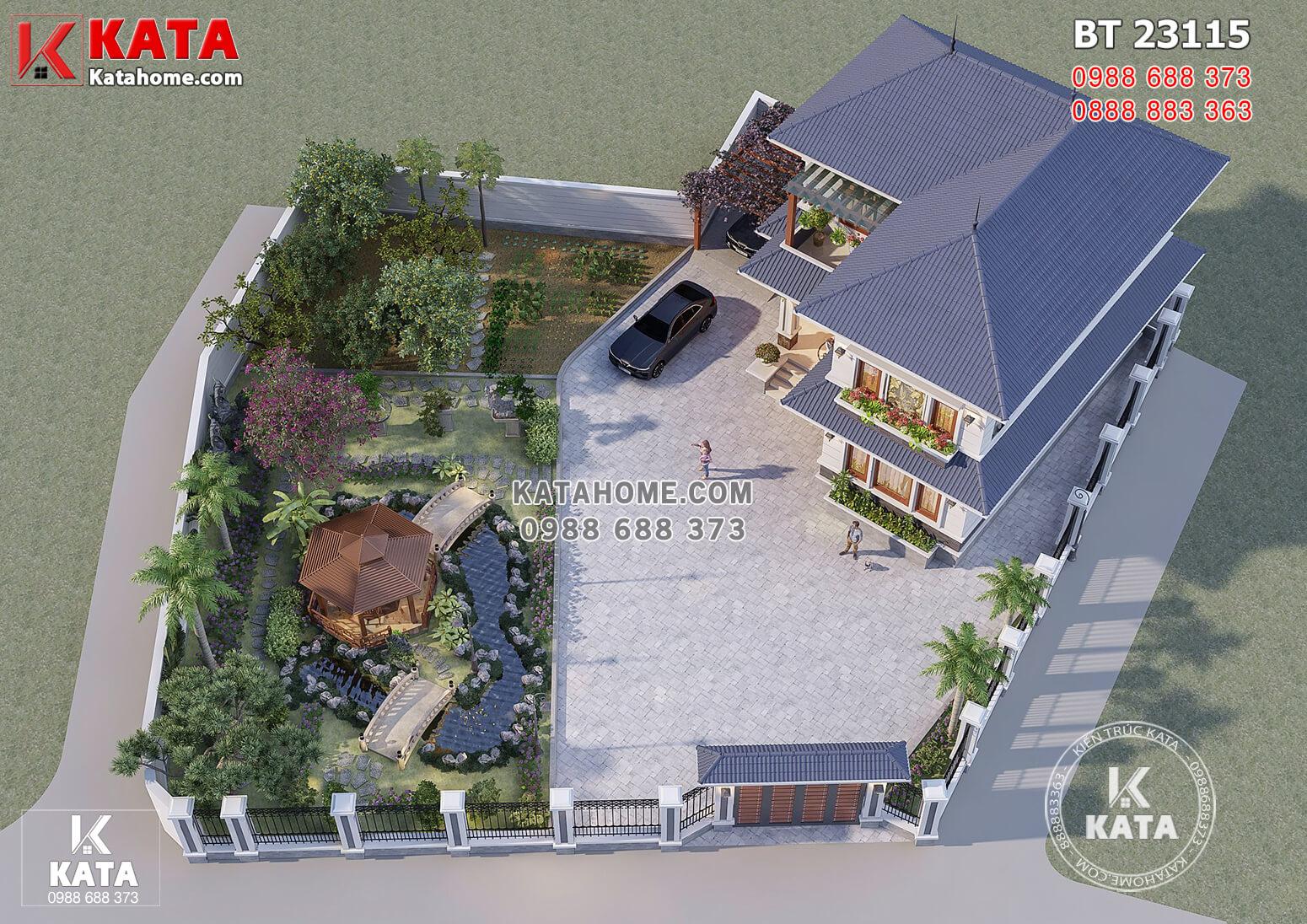 Toàn cảnh mẫu thiết kế nhà vườn chữ L khi nhìn từ trên cao xuống