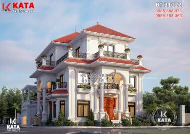 Một góc view đẹp mẫu thiết kế biệt thự 3 tầng tân cổ điển mái đỏ đẹp