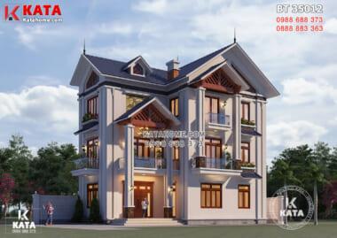 Hình ảnh: Mặt tiền của mẫu nhà 3 tầng mái Thái đpẹ rộng 100m2 - BT 35012