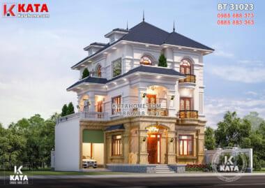Hình ảnh: Không gian ngoại thất của mẫu nhà đẹp 3 tầng tân cổ điển mái Nhật - BT 31023