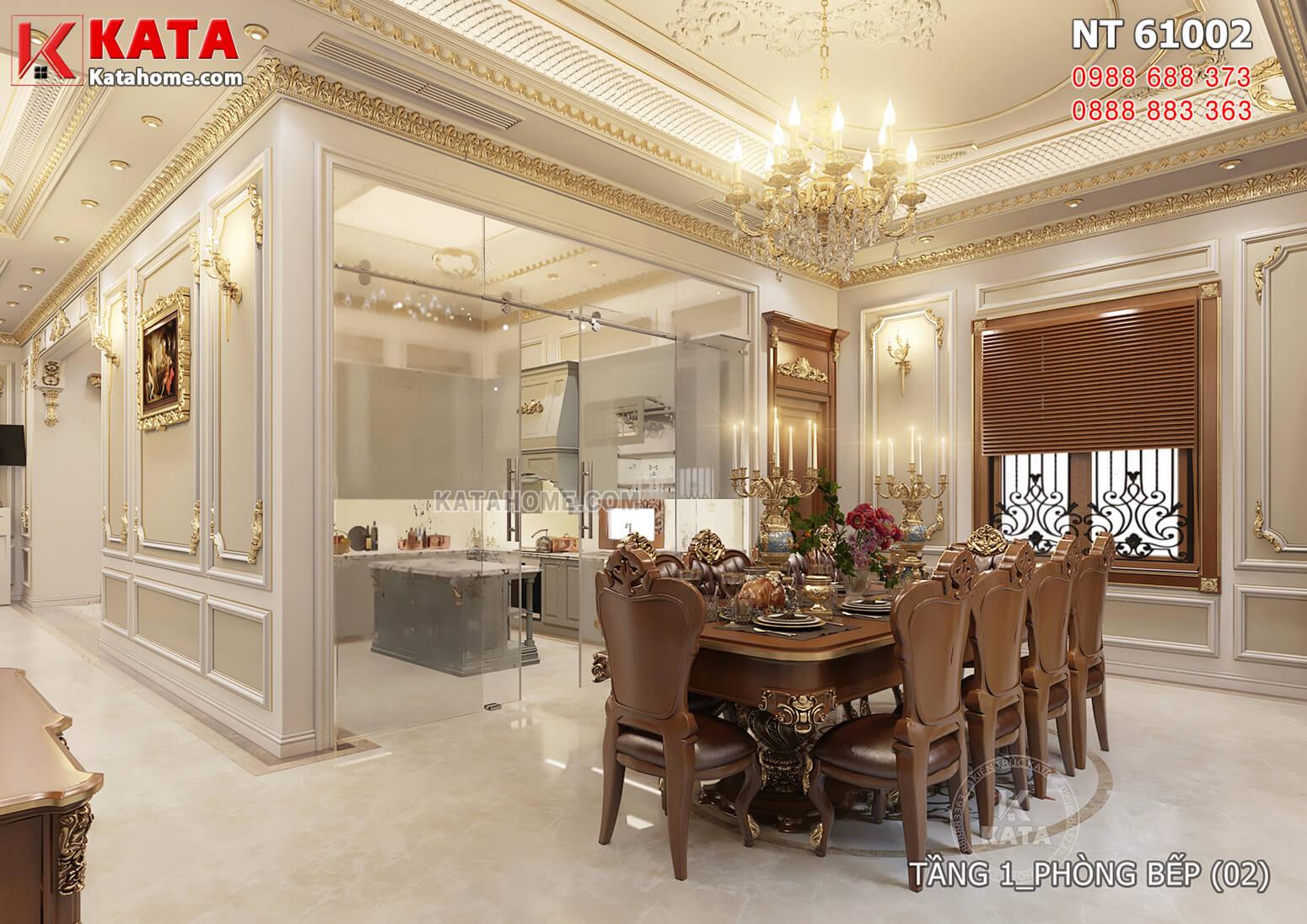 Hình ảnh: Thiết kế nội thất tân cổ điển đẹp tầng 1 - Không gian phòng bếp